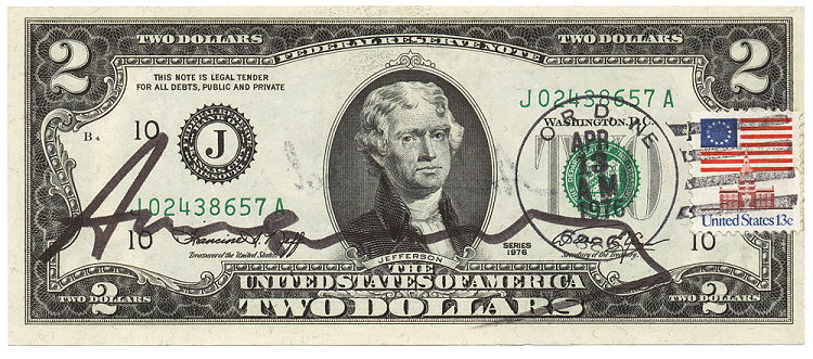 Andy Warhol - Two Dollar Jefferson (1976) © 2020 The Andy Warhol Foundation for the Visual Arts, Inc. / Licensed by Artists Rights Society (ARS), New York